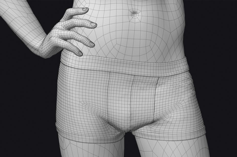man with underwear 3d model turbosquid