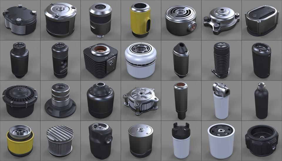 canisters, bolts and knobs 3d model collection cubebrush
