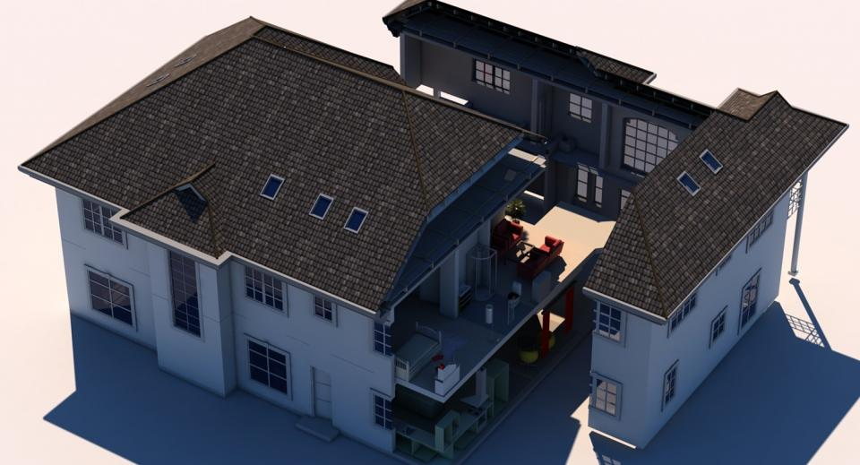 residential house cut out 3d model cubebrush