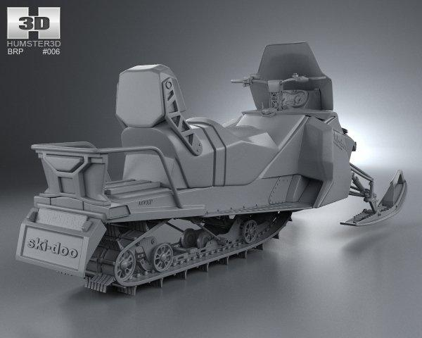 3d model sled snowmobile turbosquid