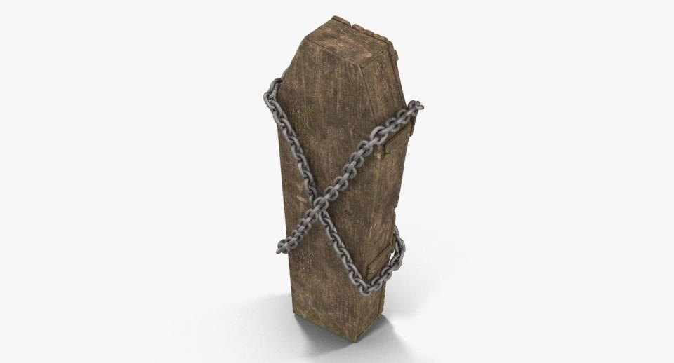 3d model coffin with chains