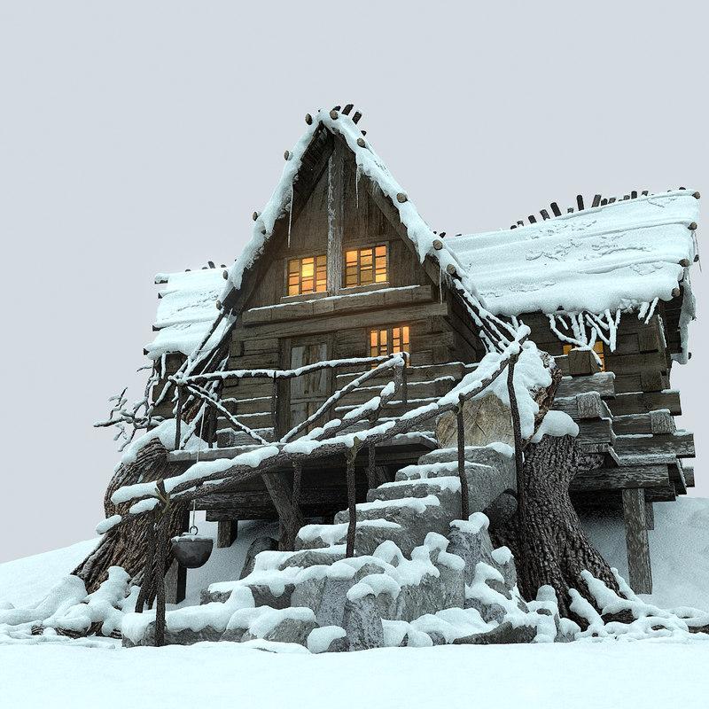 Mountain Hut Snowy 3d model