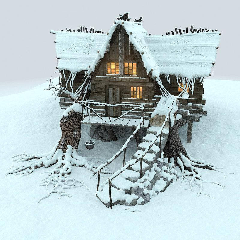 little cabin and high in mountains at snowfall