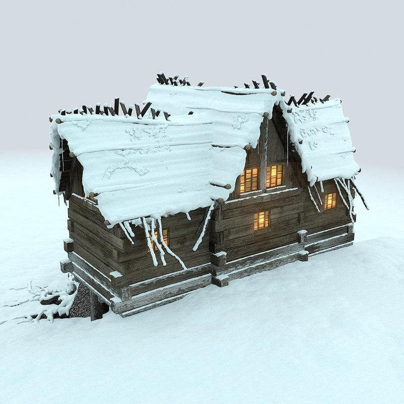 hut in the snowy mountains
