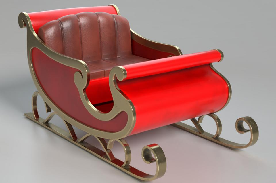 christmas sleigh 3d model turbosquid