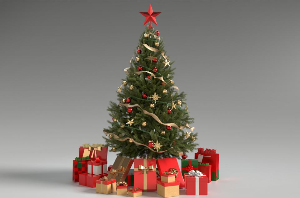 christmas tree decorated with presents 3d model turbosquid