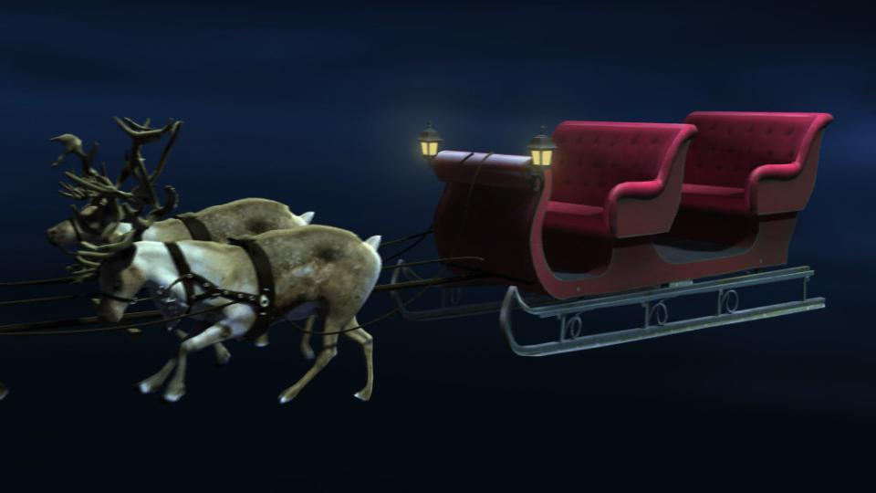 sleigh with reindeers 3d model turbosquid