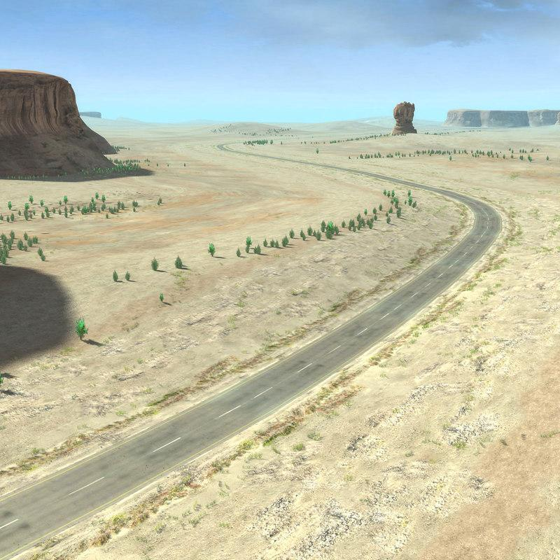 desert motorway 3d model turbosquid