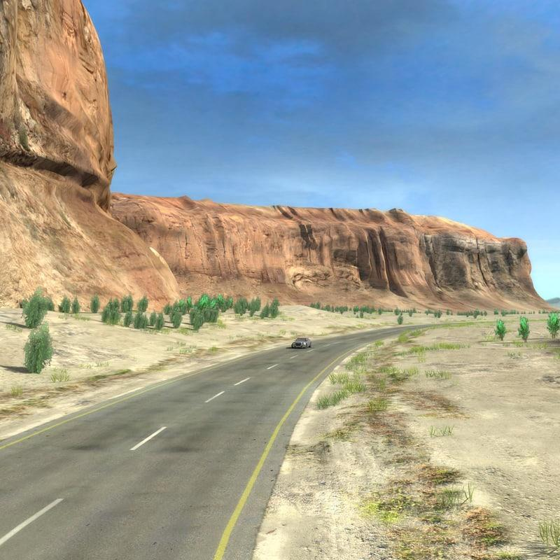 car running on desert road 3d model turbosquid