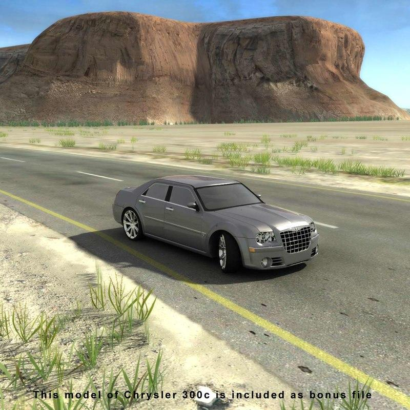 chrysler on a desert road 3d model turbosquid