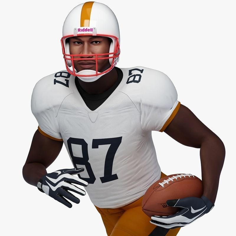 black male football player 3d model turbosquid