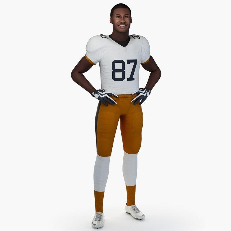 football player without helmet 3d model turbosquid