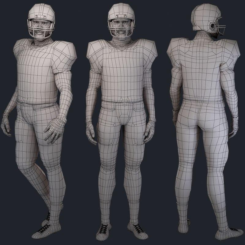 football player rigged and skined 3d model turbosquid