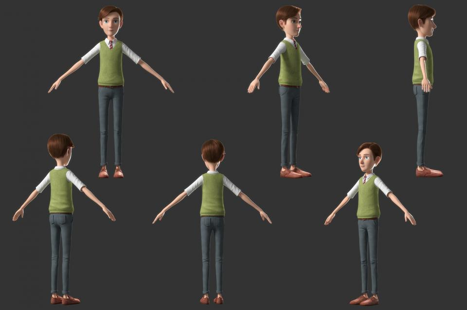 full body cartoon man rigged 3d model turbosquid