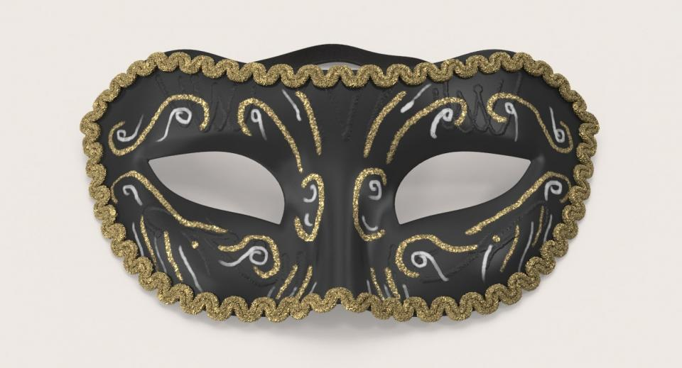 black mardi gras mask 3d model turbosquid