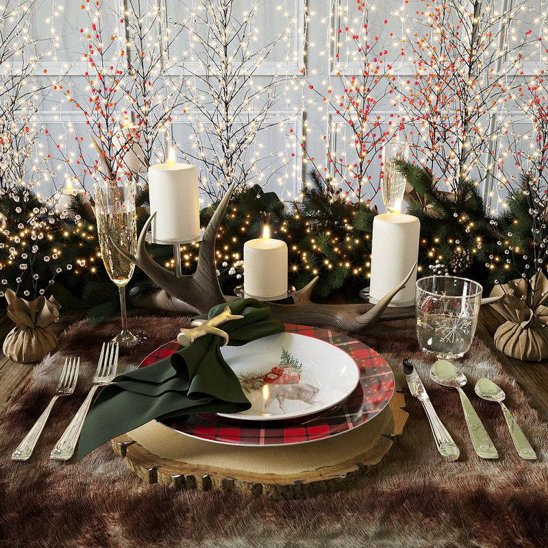 xmas table decor pottery barn 3d model turbosquid