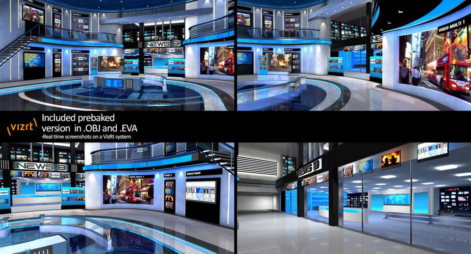 3d model of news studio