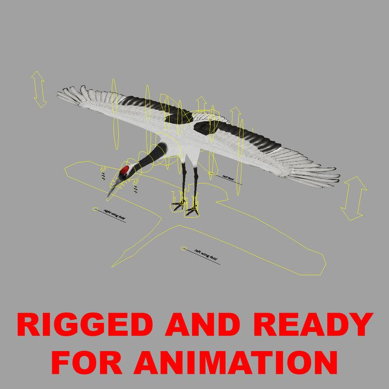 crane rigged 3d model turbosquid