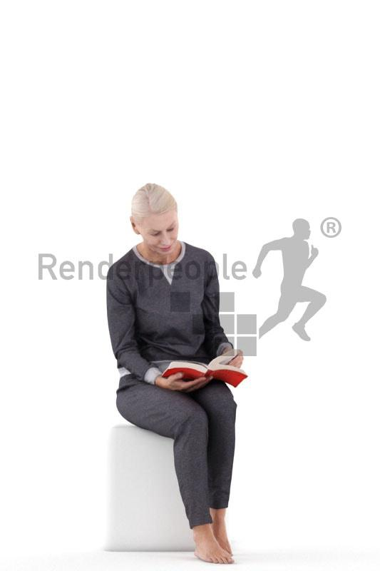 woman sitting 3d model renderpeople