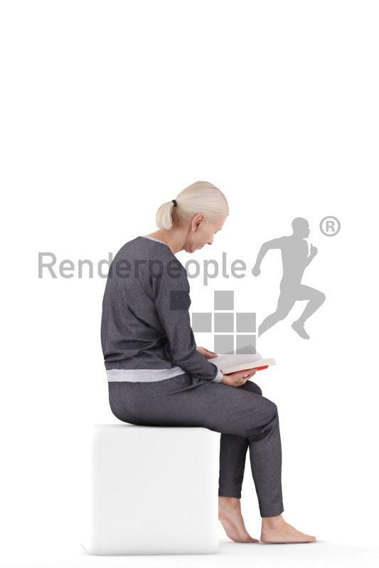 old woman sitting 3d model renderpeople