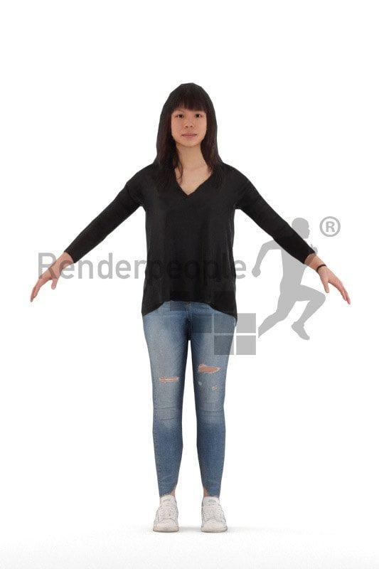 3d female rigged renderpeople