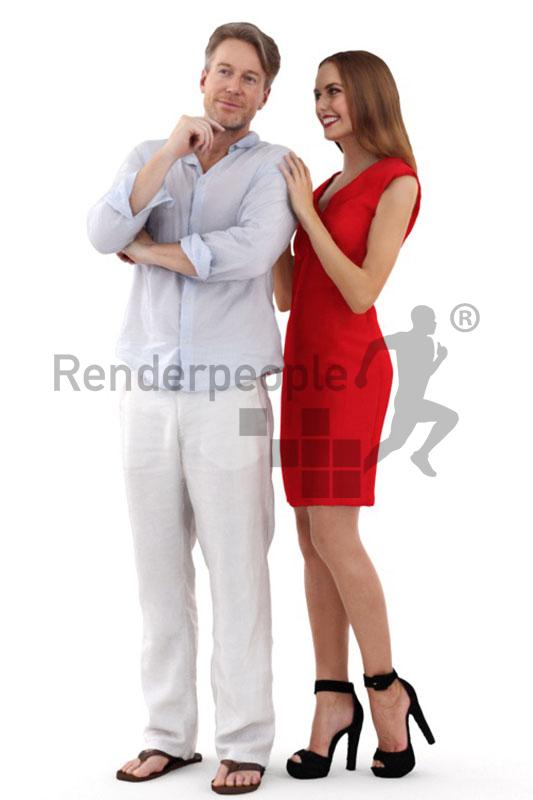 couple posed 3d model renderpeople