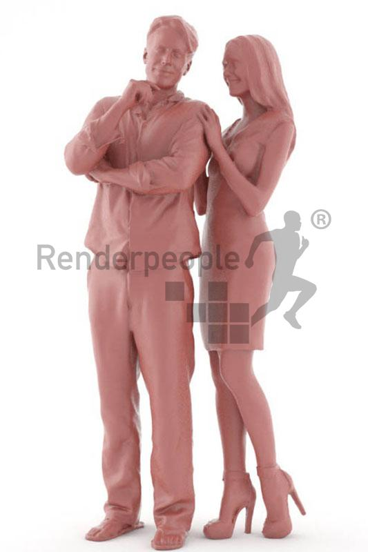man and woman standing 3d model renderpeople