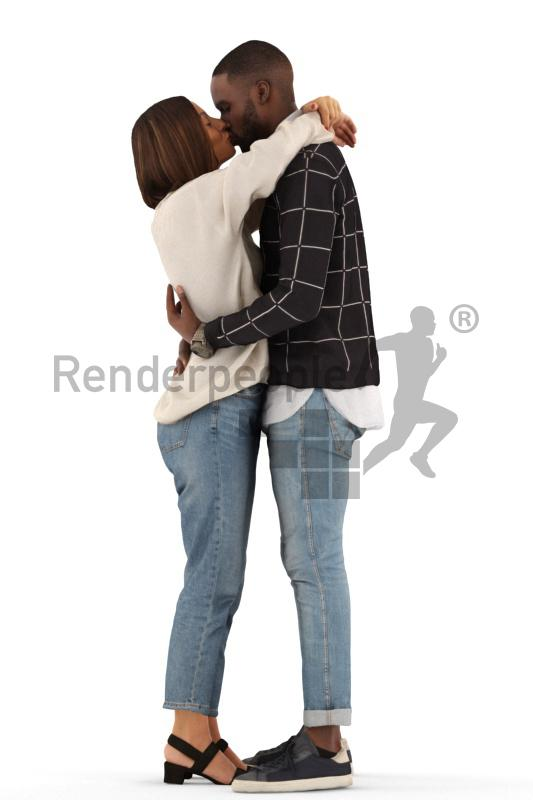 boyfriend and girlfriend standing and kissing 3d model renderpeople