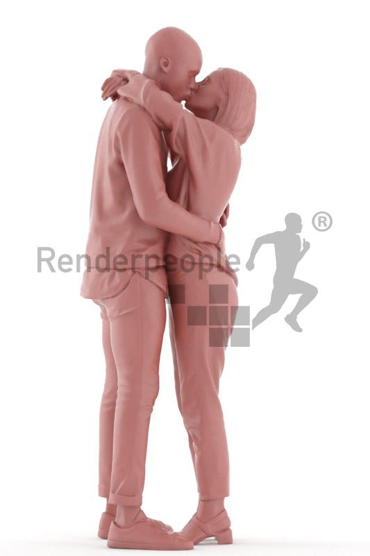 3d people kissing 3d model renderpeople