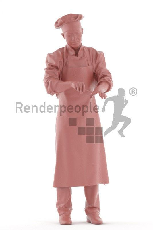 chef man posed 3d model renderpeople
