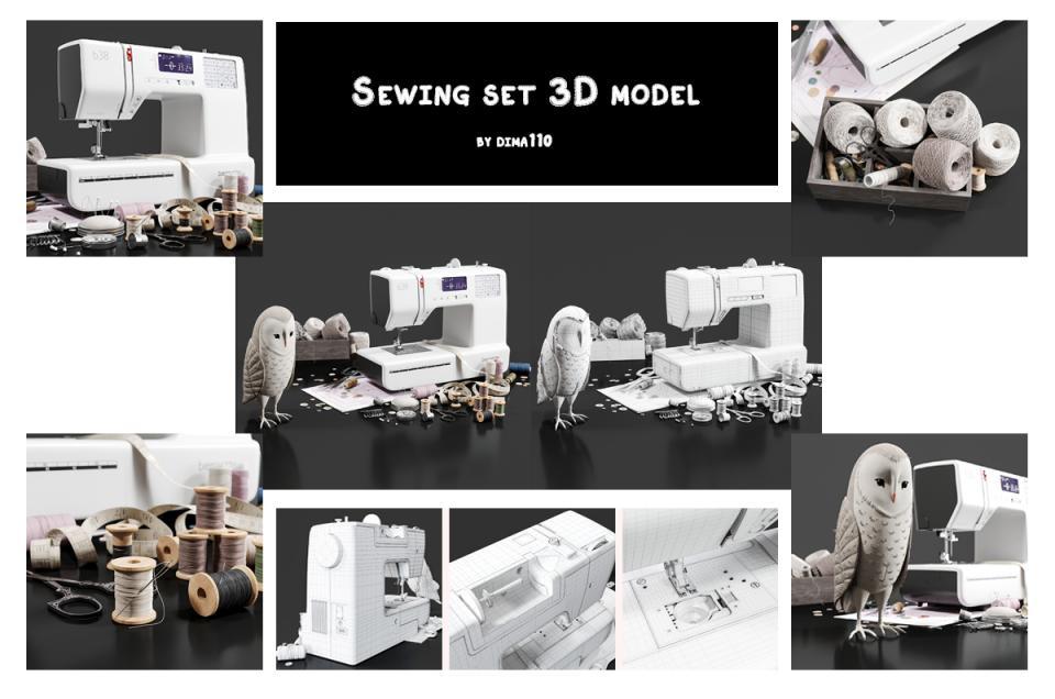 sewing set 3d model turbosquid