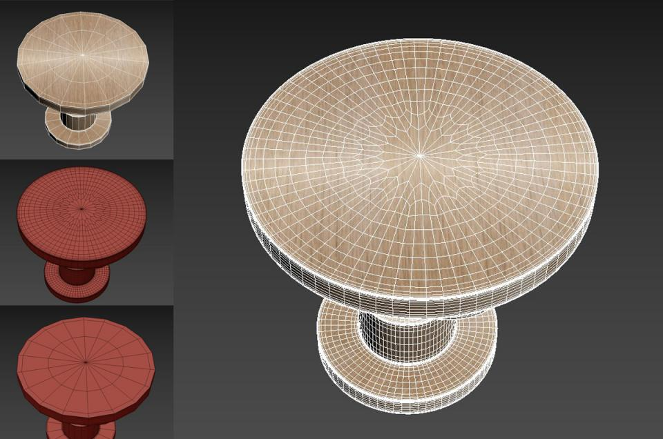 wood side table 3d model holly hunt