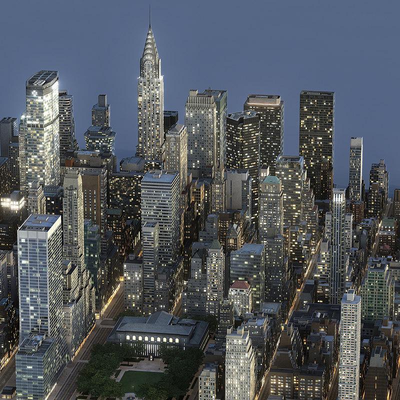 city at night 3d model turbosquid