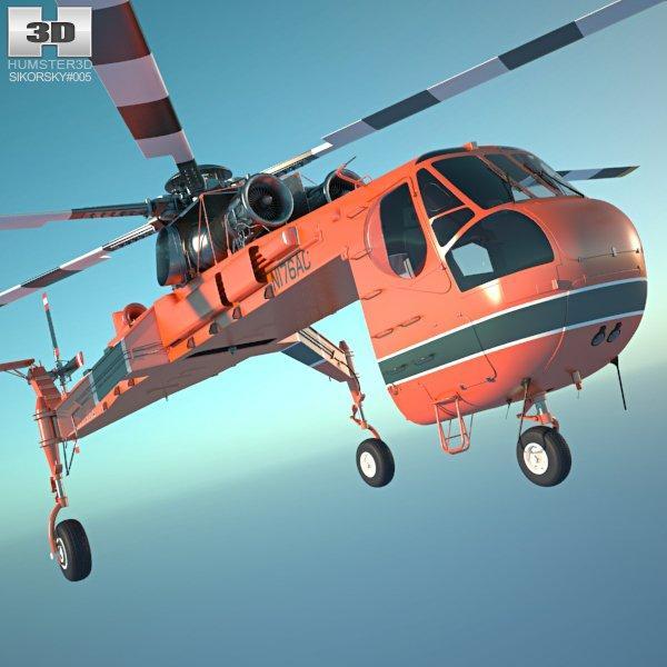 sikorsky S-64 skycrane 3d model 3dexport