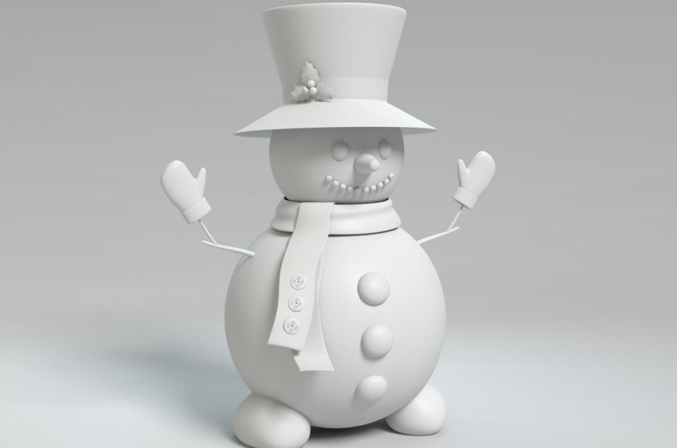 winter snowman wireframe 3d model turbosquid