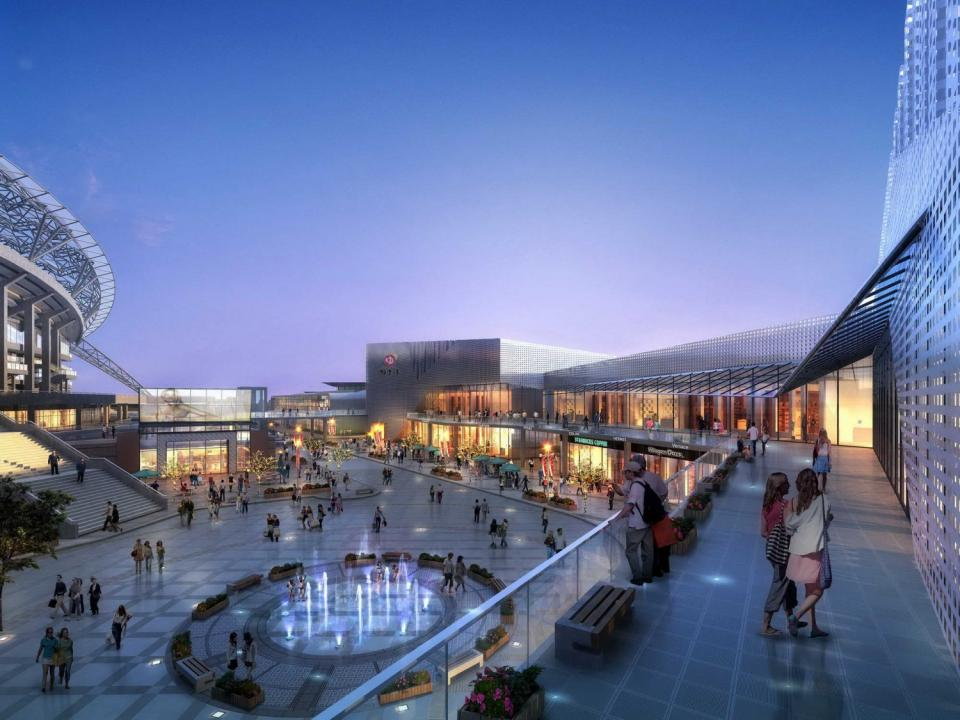 mall beside football stadium 3d model 3dexport
