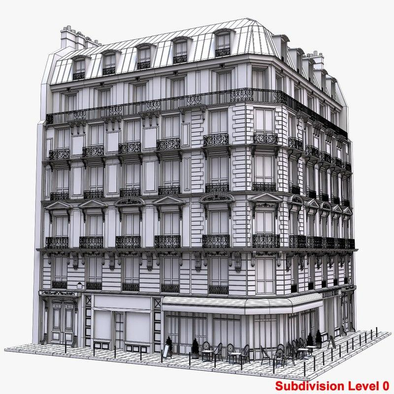 parisian building 3d model turbosquid