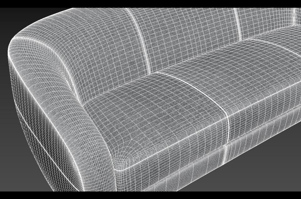 holly hunt sofa wireframe 3d model