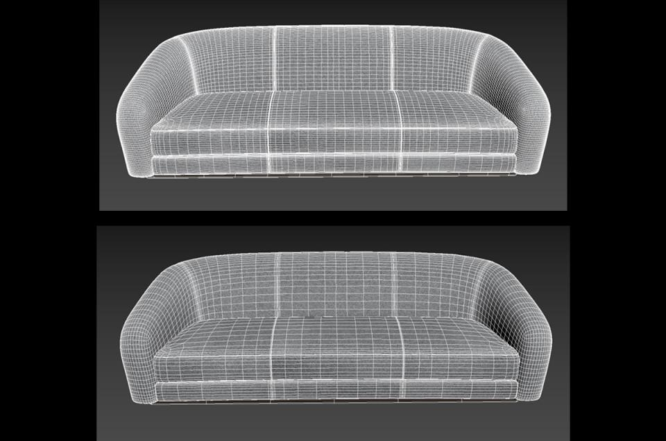 settee 3d model holly hunt