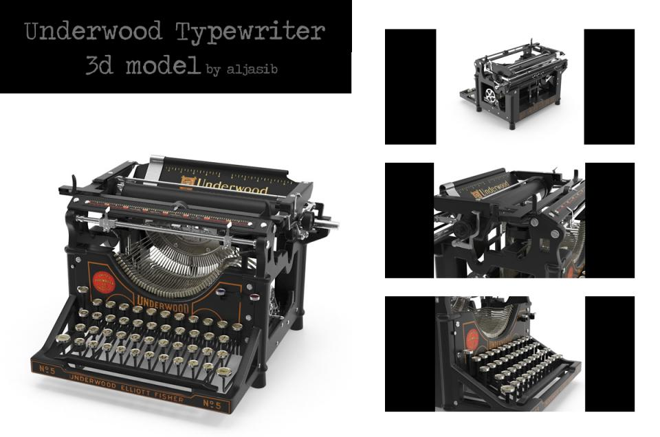 underwood typewriter 3d model turbosquid