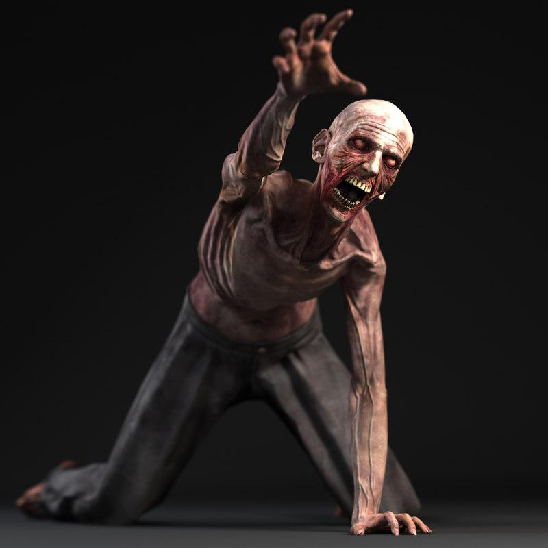 3d model of a zombie game character