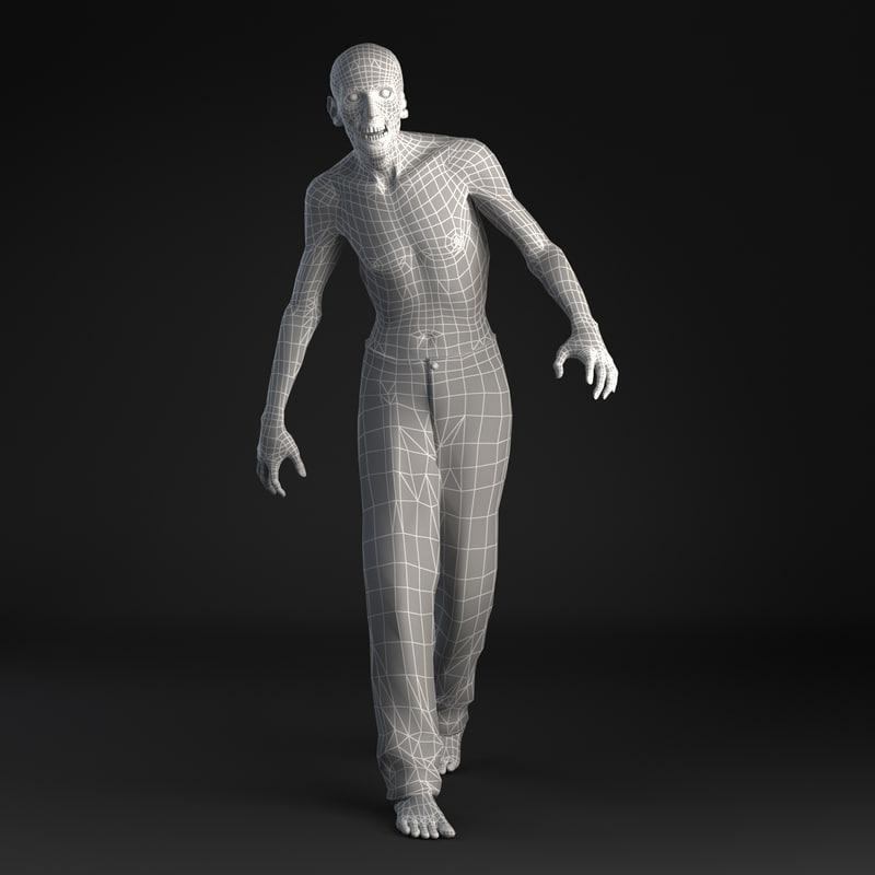 3d model of a walking zombie
