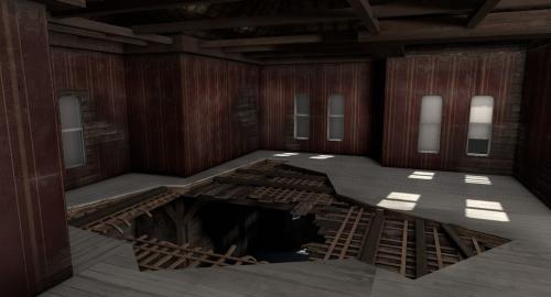 3d model broken floor in old house