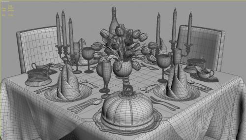 square restaurant table 3d model turbosquid