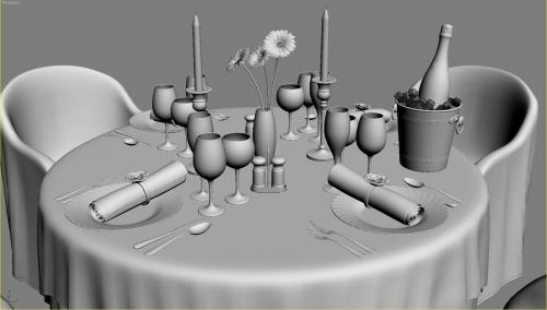 restaurant circle table 3d model turbosquid