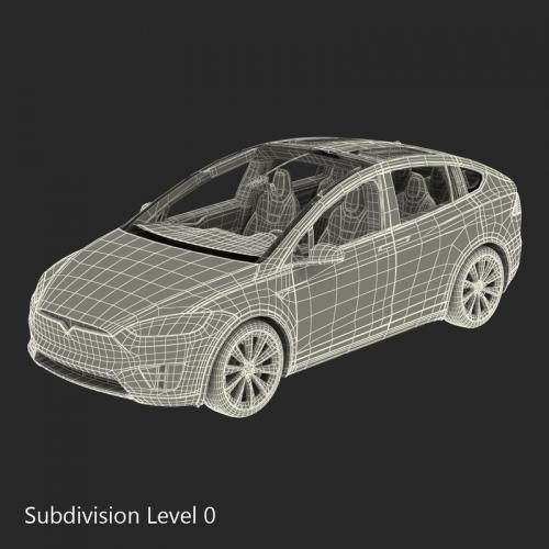 tesla model x rigged 3d model turbosquid
