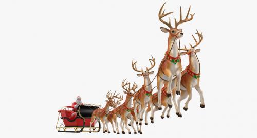 santa claus reindeer flying 3d model turbosquid