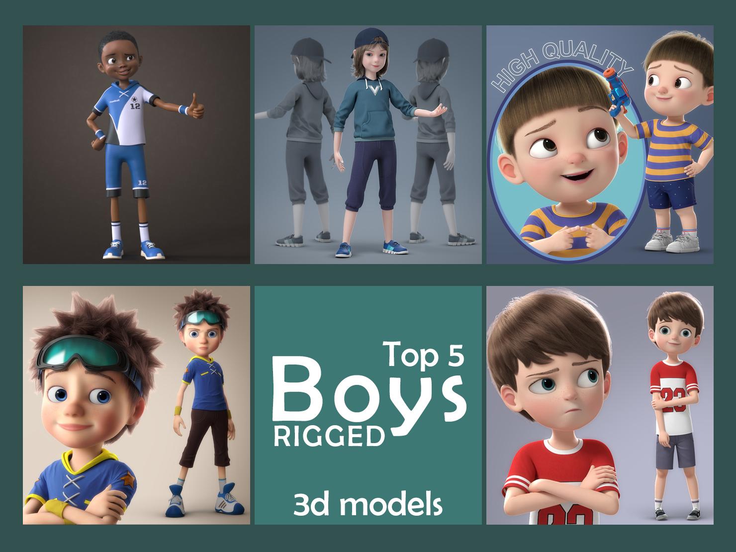 top 5 cartoon boys rigged 3d models